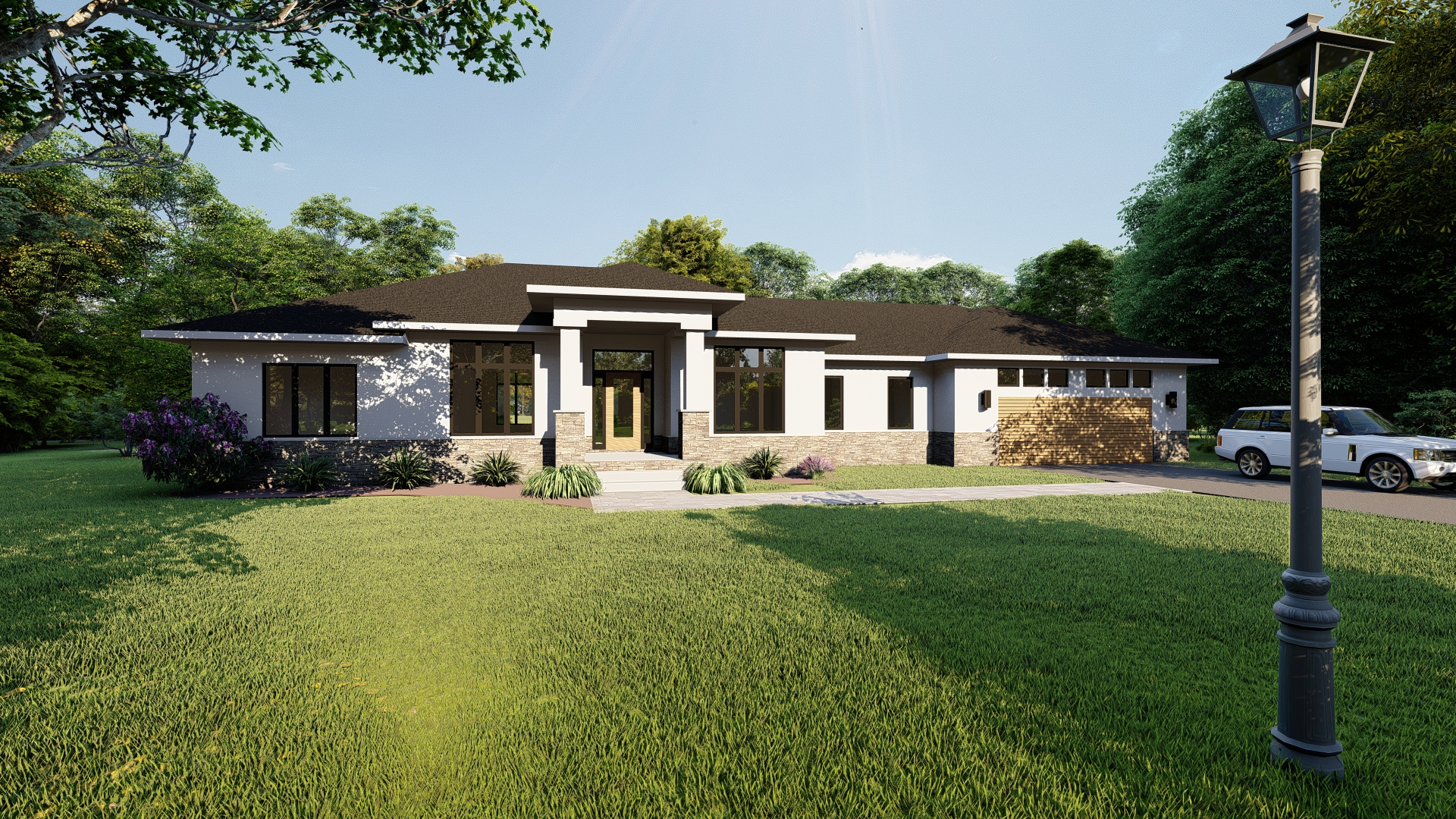 Rendering of newly designed ranch style home in buffalo ny