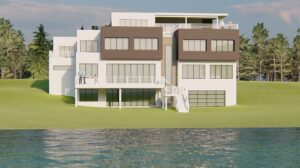 rendering of new modern house being built on the niagra river in Grand Island NY