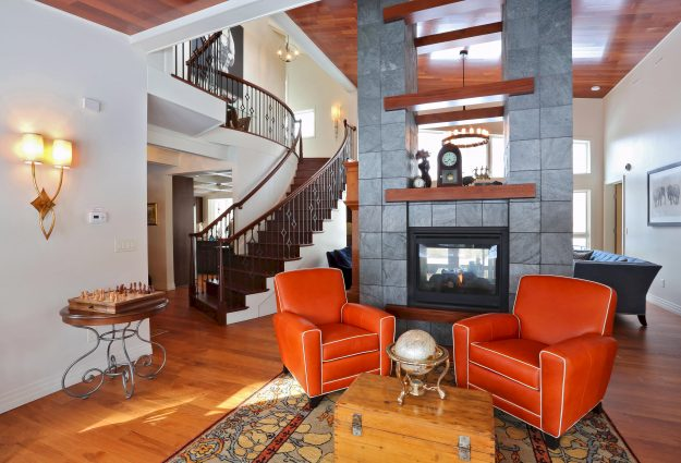 Living room, fireplace, spiral staircase, pics of Davids Interior designed for Rustic Modern Home