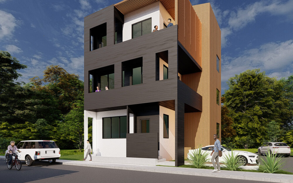 Rendering of a 3 unit apartment building